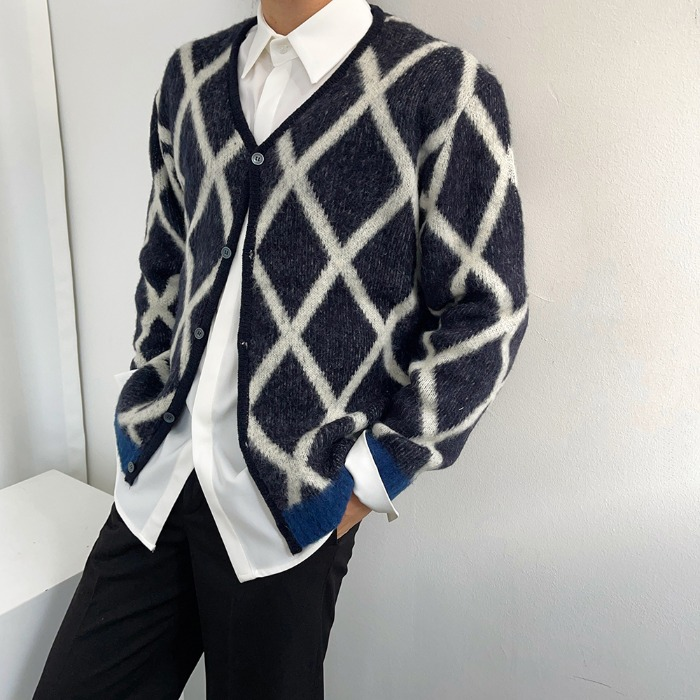 SSS diamond pattern cardigan
