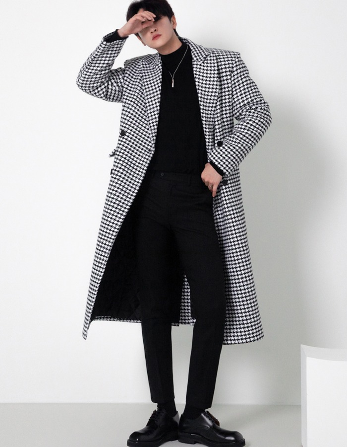 Balkan wool houndtooth long coat