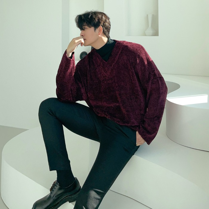 CM Look Fine Velvet V-Neck Knit