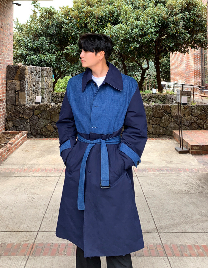 VR Denim Mix Trench Coat (2color)