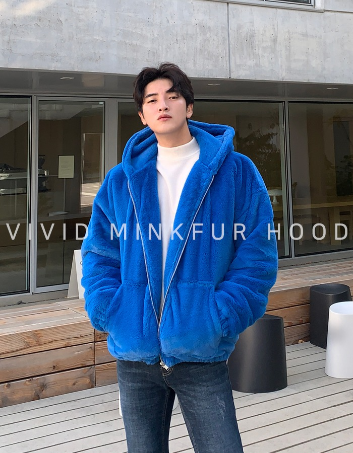 UI Vivid Mink Fur Hood Zip-up
