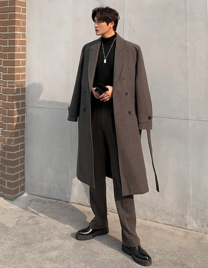 GRV oblique lapel coat