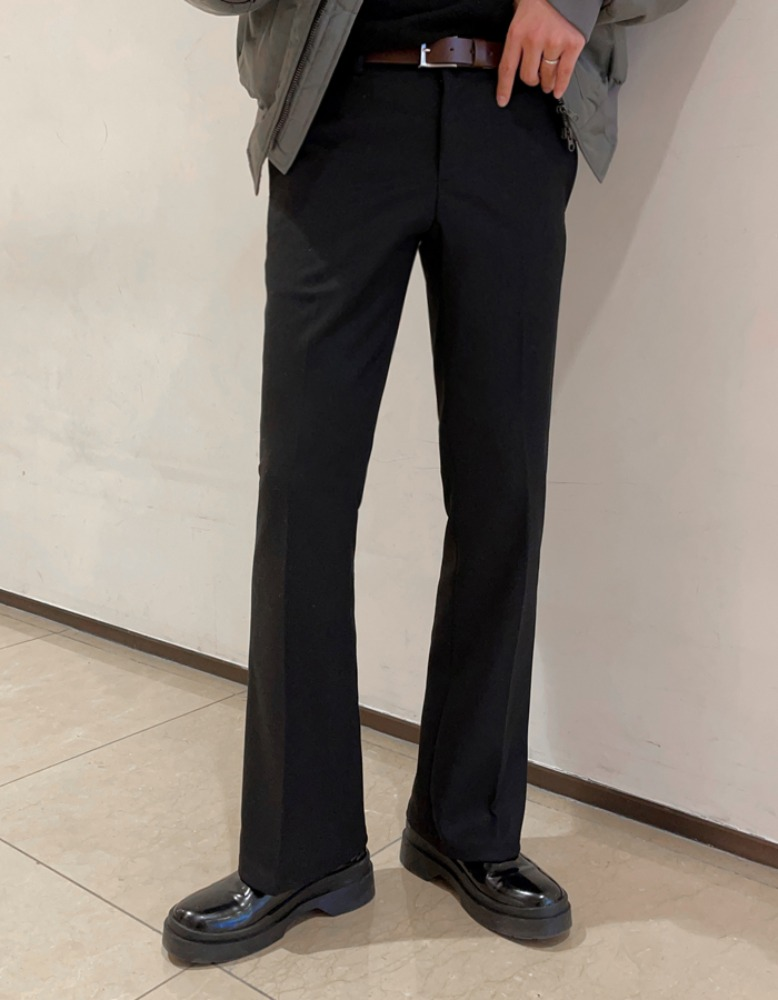 MG wool semi-wide slacks