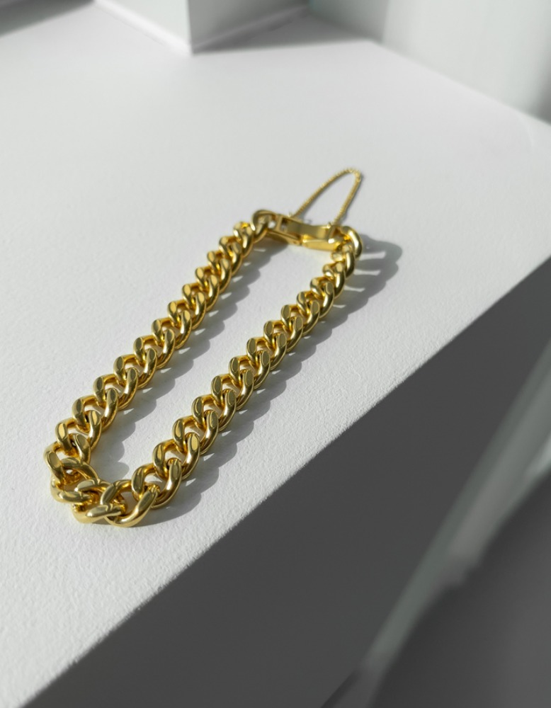 Gold watch chain bracelet